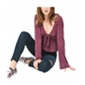 Aeropostale Womens Tie-Front Crop Pullover Blouse