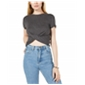 Project 28 Womens Twist-Front Crop Top Blouse