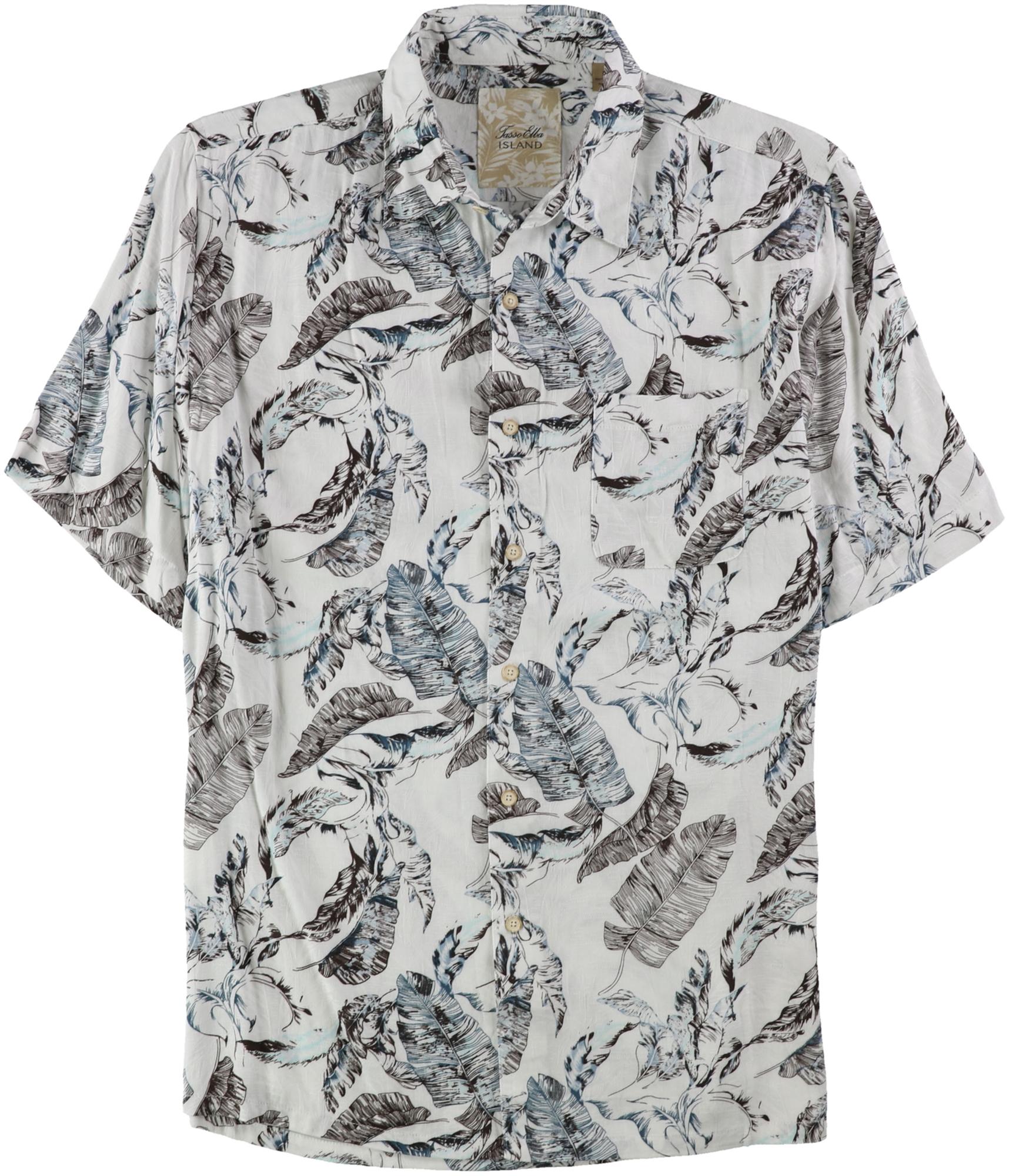 Tasso Elba Mens Floral Print Short Sleeve Silk Button Down Shirt Gray 2XL