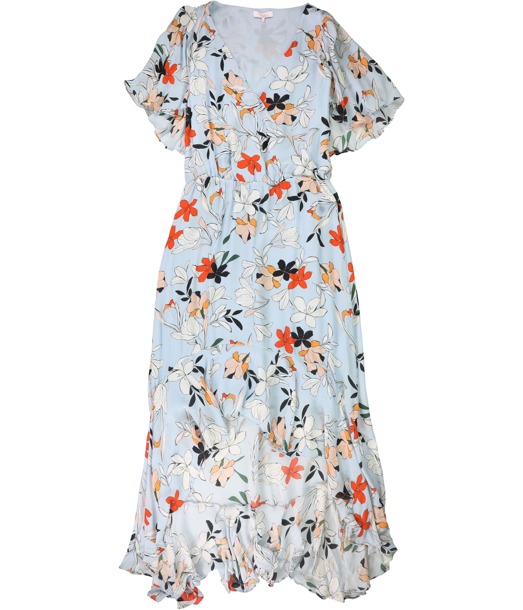 Parker-Womens-Demi-Floral-A-line-High-Low-Dress-Blue-Large